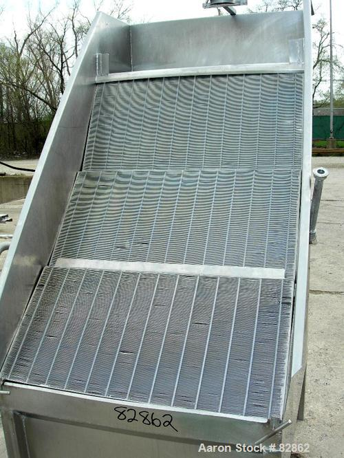 "USED: DSM type screener, stainless steel. 3 section vertical screen 36"" wide x 54"" long. Top feed, bottom holding tank and d..."
