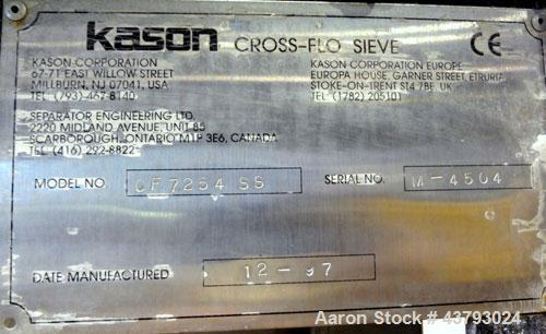 """Used- Kason Cross-Flo-Sieve, Model CF7254SS, Stainless Steel. Designed to separate pellets and fines larger than 0.02"""" (0.5m..."""
