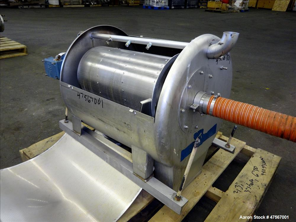 "Used- Parkson Corporation Roto-Guard Rotary Drum Screener, Model 500 X 1.0M, 304 Stainless Steel. (1) Approximate 12"" diamet..."