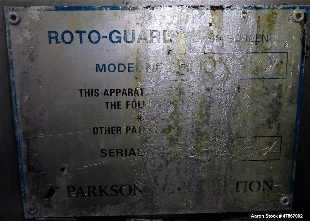 Used- Parkson Roto Guard Drum Screen, Model #500X-1.0,