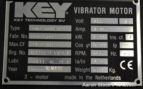 Used- Key Technology Vibrator Motor, Model DXZ 600-8