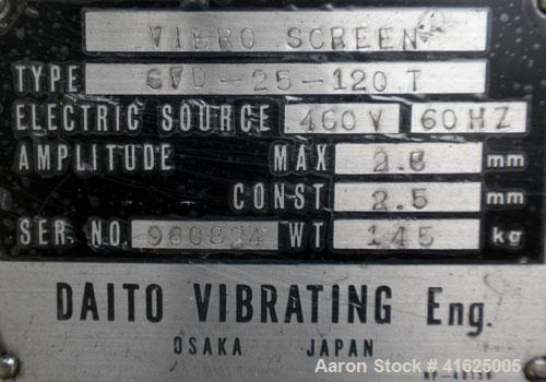 Used- Stainless Steel Daito Vibrating Screener, type SFD-25-120T