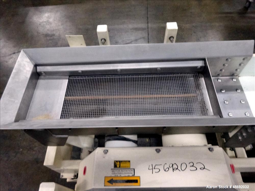 "Used- Eriez Model TMS12X96 HI-VI Vibratory Rectangular Screener. Screen size: 24"" long x 9-1/2. 6"" diameter out feed. 1-1/2 ..."