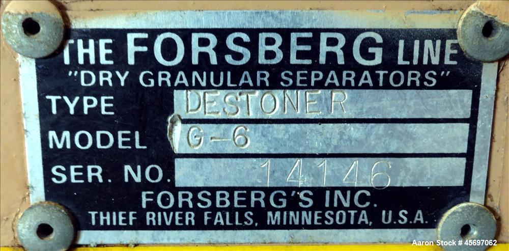 """Used- Forsberg Destoner, Model G-6, Carbon Steel. Screen 41"""" long x 34"""" wide. Light particle outlet 15"""" x 10"""", heavy particl..."""