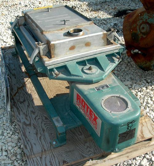 """USED: Rotex screener, model 111 PS SS/SS, 21"""" x 36"""". 5.2 square foot screening capacity, stainless steel screen, top cover, ..."""