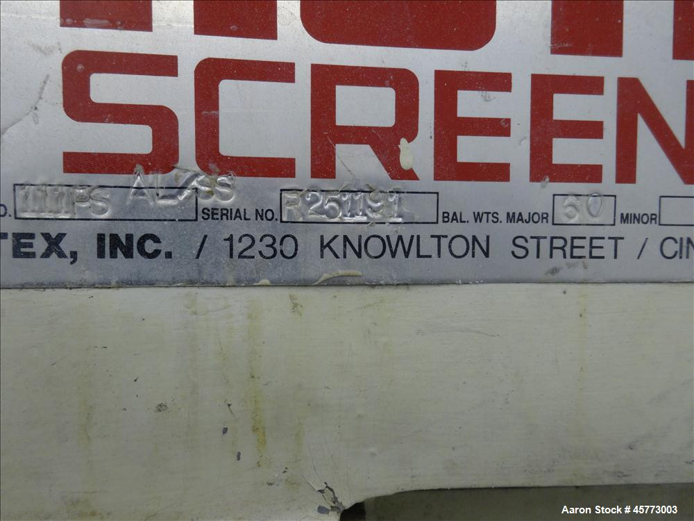 """Used- Rotex Screener, Model 111PS AL/SS. 316 Stainless Steel. Single deck, 2 separation. Approximate 21"""" x 36 screen section..."""