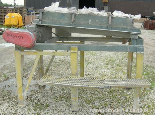 """Used: Rotex screener, model 221, carbon steel. 40"""" wide x 56"""" long single deck, 2 separation. Clamp down top cover, 2 bottom..."""