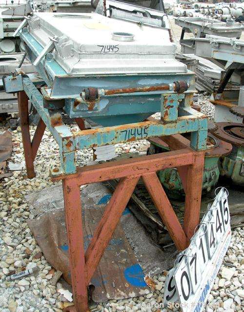 "USED- Rotex Screener, Stainless Steel. 20"" wide x 48"" long, 2 deck, 3 separation (requires screens). Clamp down aluminum top..."