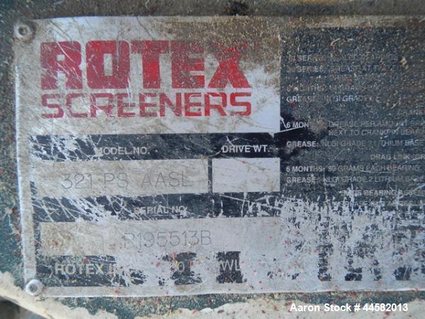 Used- Rotex Screener Model 321 PS AASL