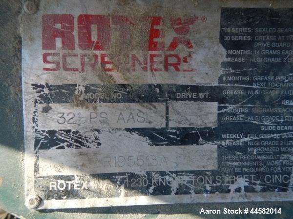 Used- Rotex Screener, Model 321 PS AASL