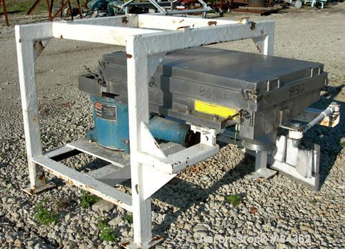 """Used- Rotex Screener, Model 40, 304 Stainless Steel. 28"""" Wide x 40"""" long single deck, 2 separation. Bolt down top cover, 2 b..."""