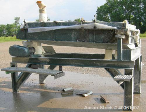 """Used- Rotex screener, model 42GP, carbon steel. 40"""" wide x 84"""" long double deck, 3 separation. Clamp down top cover, 3 botto..."""