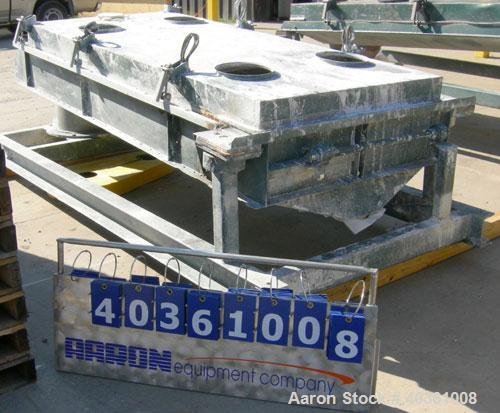 "Used: Rotex screener, model 42GP, carbon steel. 40"" wide x 84"" long double deck, 3 separation. Clamp down top cover, 3 botto..."