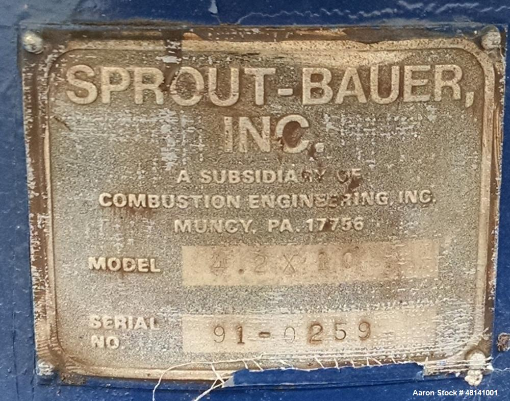 Used- Sprout-Bauer Screen, Model 4.2X10, Carbon steel.