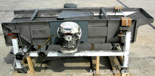 """USED: Sweco full flow rectangular separator, stainless steel. 18"""" wide x 70"""" long single deck, (2) screen separations. Drive..."""