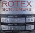 Used- Rotex Screener, Model 242-SAN.AL.SS, 304 Stainless Steel, Aluminum Screens. 24 1/2