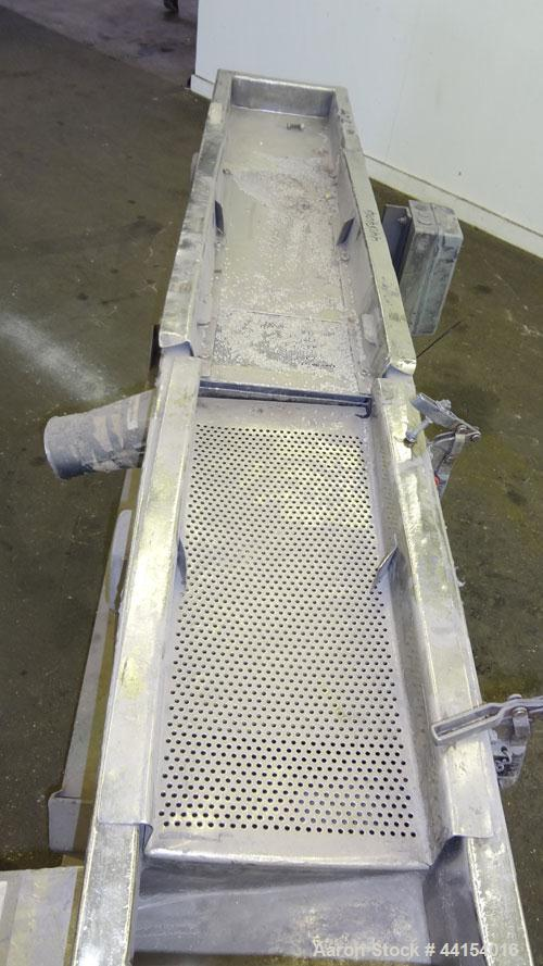 "Used- Witte Screener, 304 Stainless Steel. 10"" Wide x 73"" long. 3 Separation with (2) perforated sections. Driven by a 1hp, ..."