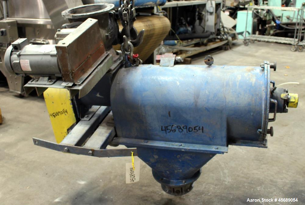 """Used- Centrifugal Sifter, 304 Stainless Steel. Approximate 8"""" diameter x 24"""" long screening chamber with a stainless steel h..."""