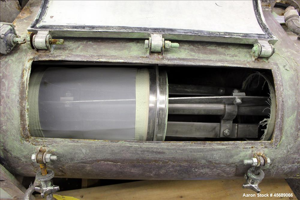 """Used- Centrifugal Sifter, Carbon Steel. Screening chamber approximate 8"""" diameter x 24"""" long with a stainless steel helical ..."""