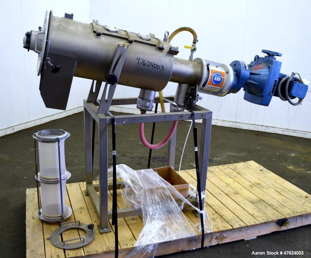 "Used- Azo FL Liquid Screener, Model FLX-650 LTX, 304 Stainless Steel. Approximate 7"" diameter x 24"" long screen chamber, int..."