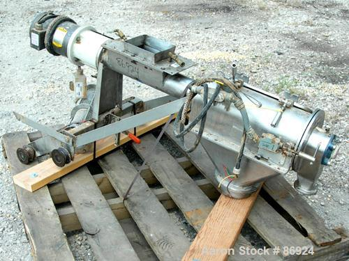 """USED- Azo Cyclone Screener, 304 Stainless Steel. Approximate 4"""" diameter x 18"""" long screen chamber, (3) helical blades. Driv..."""