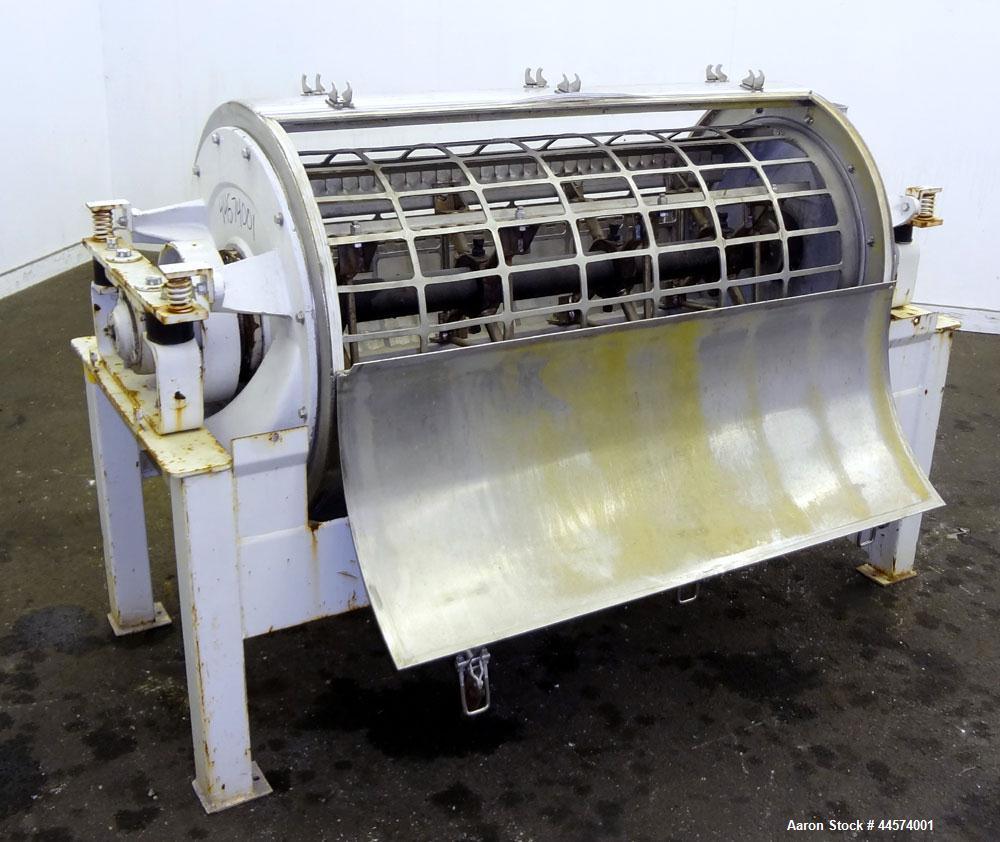 "Used- Buhler Vibro-Sifter, Model MKVA-56/12K.  Capacity 2000 kg/hr depending on product.  Approximately 22"" diameter x 48"" l..."
