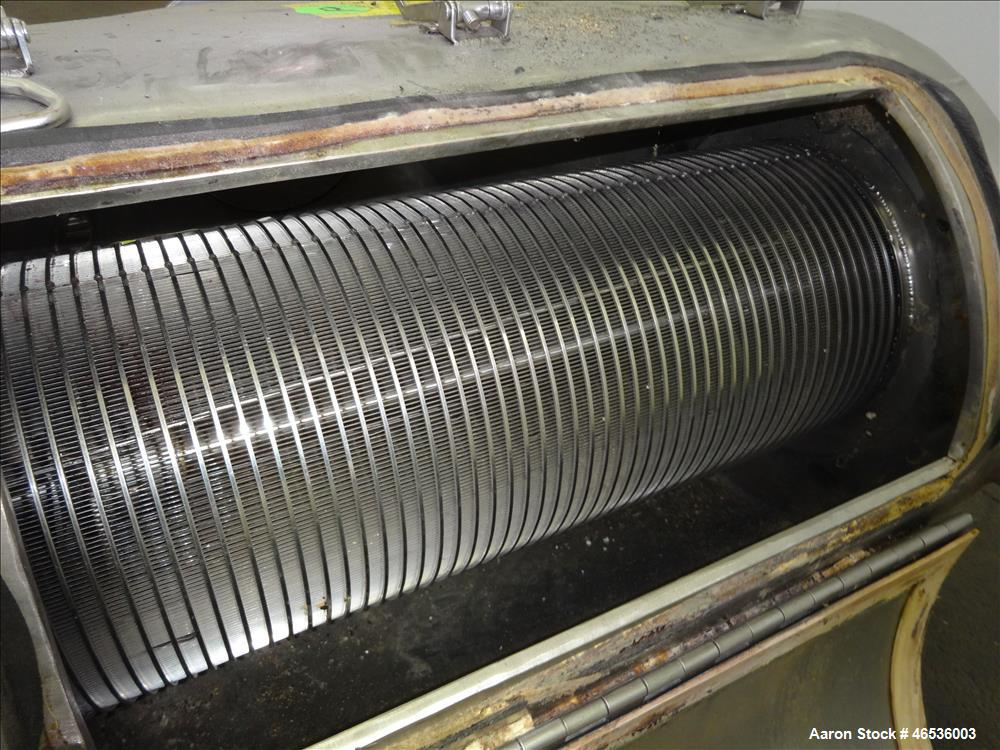 """Used- Kason Centri-Sifter, 304 Stainless Steel. Approximate 10"""" diameter x 22"""" long screen with (4) helical blades. Approxim..."""