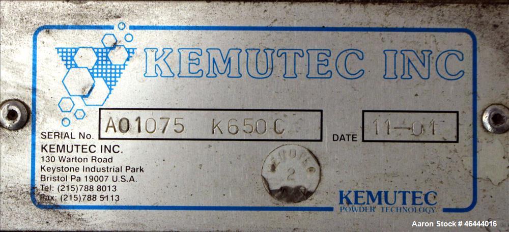 Used- KEK Kemutec Centrifugal Rotary Sifter, Model K650C