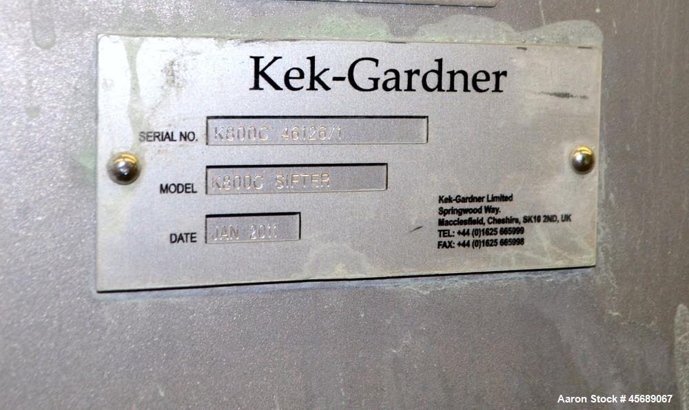 "Used- Kek-Gardner Centrifugal Sifter, Model K800C, 304 Stainless Steel. Approximate 10"" Diameter x 32"" long screening chambe..."