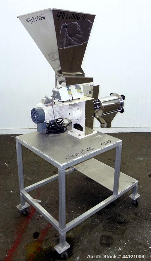 """Used- KEK Laboratory Centrifugal Rotary Sifter, Stainless Steel. Approximate 2-1/2"""" diameter x 7"""" long sifting area with scr..."""