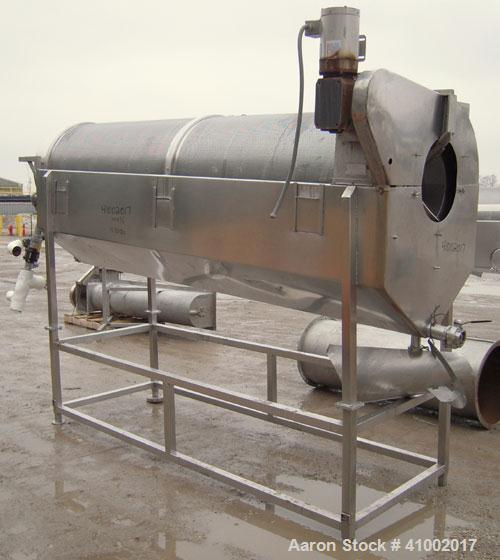 Used- A.K. Robins & Company Inclined  Rotary Cooler, Model IRC72, 304 stainless steel. Inclined horizontal perforated drum 3...