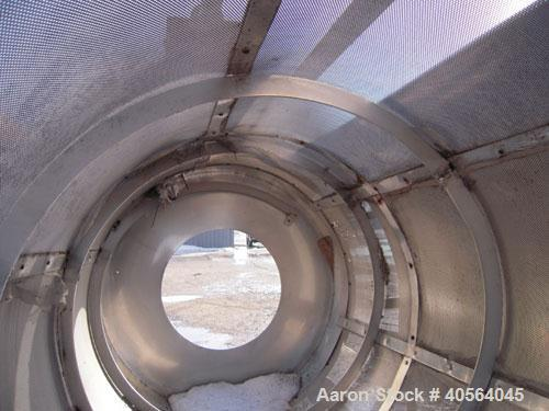 Used- Vegetable Tumble Dryer, 304 stainless steel, inclined.  4 foot diameter x 6 foot long screening section with 2 foot fl...