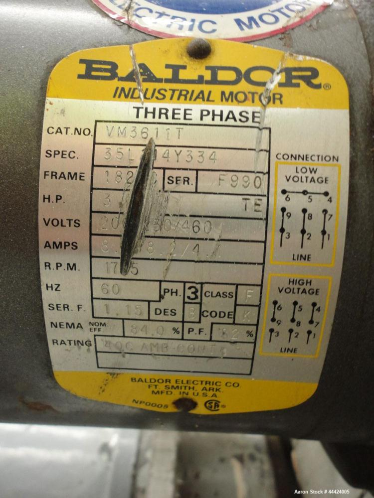 Used- Prater Industries Rota-Sieve, Model 150 RS.  Carbon steel housing, screw feed, driven by a 3 hp, 3/60/208-230/460 volt...