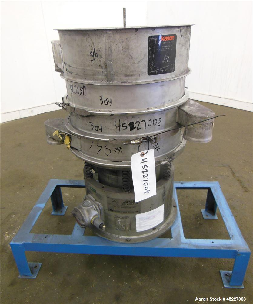 "Used-Sweo Vibratory Siever, Model LS18S33, 18"" separator, 1/4 hp, 460v, 1140 rpm motor. 3 decks with 1- 150 mesh stainless s..."
