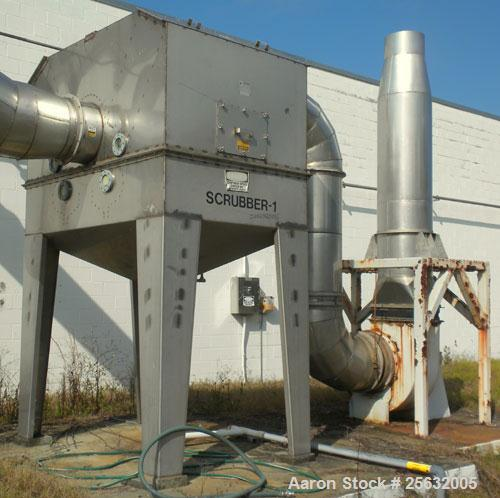 "Used- Tri-Mer Scrubber, Model 95T, Stainless Steel. 18"" Diameter inlet/outlet. Cone bottom with 3-1/2"" threaded center botto..."