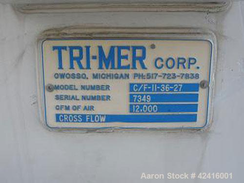 Used-Scrubber, rated for 12,000 cfm. Manufactured by Tri-Mer Corp, model C/F-11-36. Crossflow scrubber, polypropylene constr...