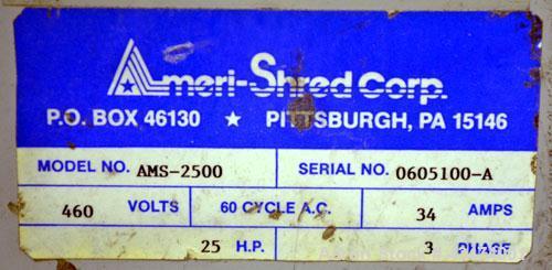 "Used- Ameri-Shred Series 3 Strip Cut Industrial Paper Shredder, Model AMS-2500, Carbon Steel. 20"" Wide feed throat, (29) app..."