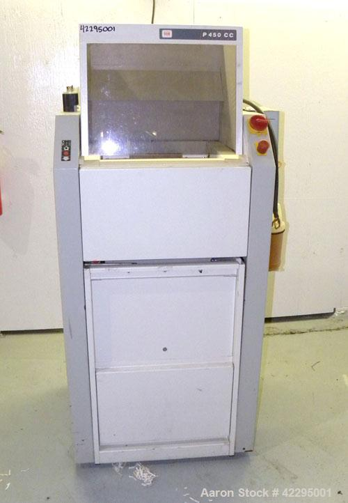 Used- SEM/Security Engineered Machinery Paper Shredder, Model 405P. 16-7/8'' Wide feed opening, 45-50 sheets per feed, speed...