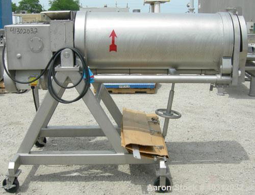 """Used- Carruthers Auto-Shredder, model SH20001, 304 stainless steel. 20"""" diameter x 48"""" long manually adjustable pitched hori..."""