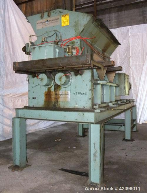 """Used- Shred Pax Twin Shaft Shredder, Model AZ-160, Carbon Steel. (2) Rows of intermeshing hook knives approximately 2-3/4"""" t..."""