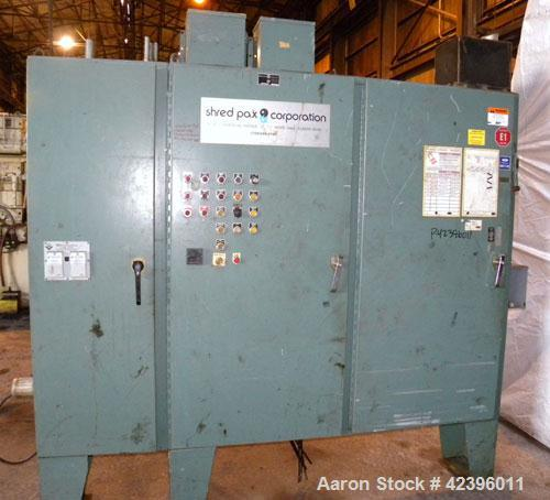 "Used- Shred Pax Twin Shaft Shredder, Model AZ-160, Carbon Steel. (2) Rows of intermeshing hook knives approximately 2-3/4"" t..."