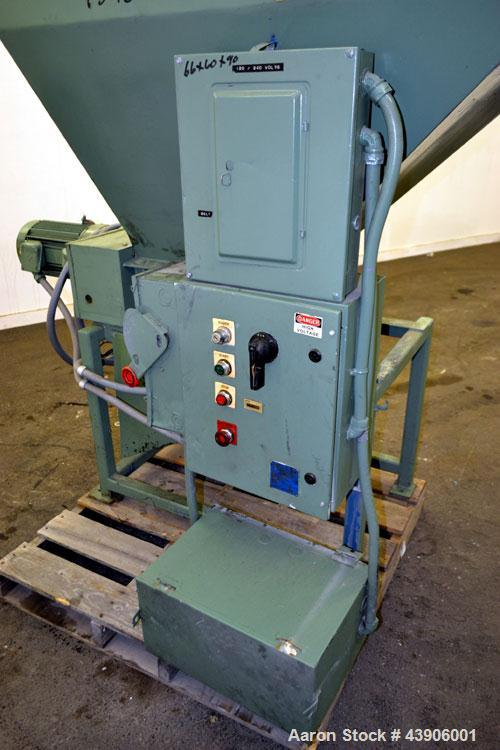 """Used- Shred-Pax Twin Shaft Shredder, Carbon Steel.  (2) Rows of 8 intermeshing hook knives, approximately 1-1/2"""" thick. 13"""" ..."""