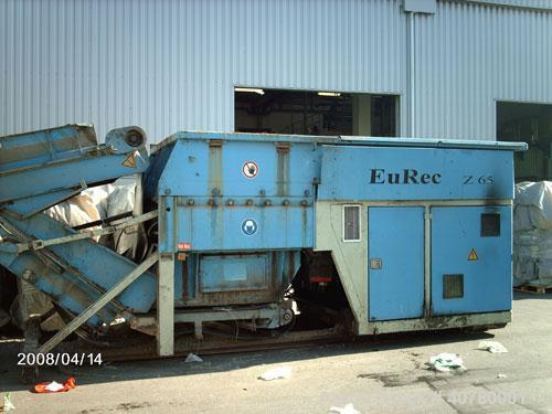 Used-Eurec Shredder, model Z65/165. (2) 110 kW (145 hp) motors. Outside dimensions 3400 x 6000 (8700 with open feeder) x 320...