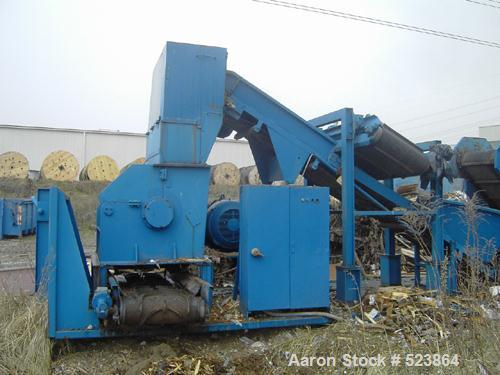 USED: Zeno mobile shredder line. (1) Zeno 2 roll shredder ZDV 3000 x2000; (1) Zeno shredder ZMNR 710 - 1400 - 500; (1) magne...