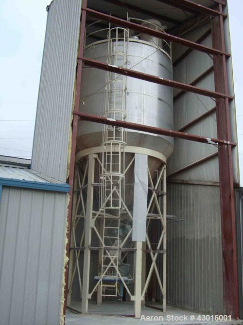 Used-Stainless Steel Powder Silo, 15' x 35', includes dust collector.