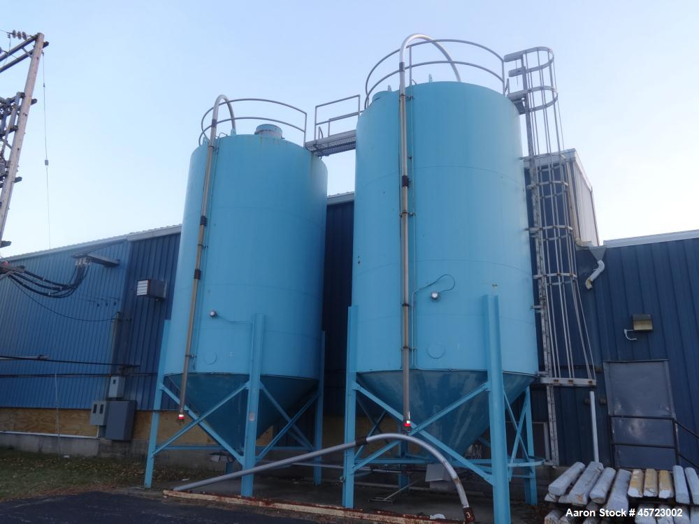 Used- Twin Silos, each silo is 12 diameter x 18 high. Galvanized steel construction, good, clean condition. Minor rust aroun...