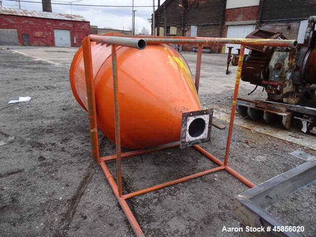 "Used- Hopper Silo, Approximately 95 Cubic Feet, Carbon Steel. 54"" Diameter x 60"" straight side x 45"" cone bottom, 8"" bottom ..."