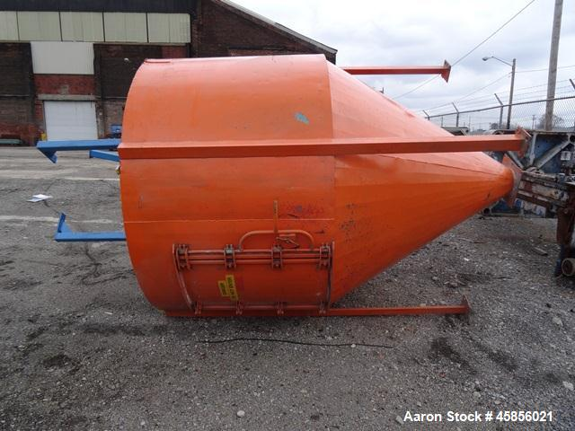 Used- Hopper Silo, Approximate 220 Cubic Feet, Carbon Steel.
