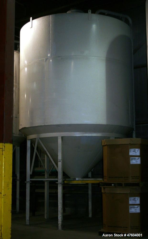 "Used- Indoor Silo. Carbon steel, 56,000 lbs (25,600 kgs) capacity. Approximately 11'5"" wide x 22' high with filter, 10' diam..."