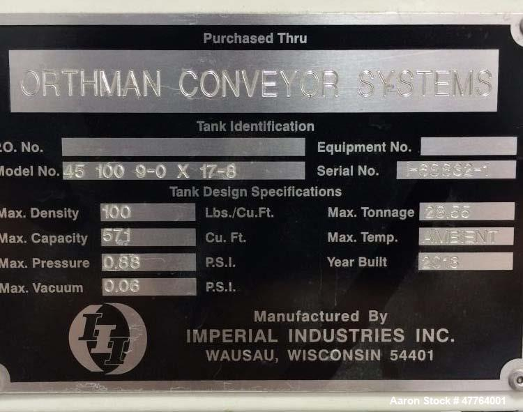 Used- Imperial Industries Bulk Solids Silo, 28.55 Ton. Max density: 100 lb/cu. ft. Capacity: 571 cu. ft., max pressure: .88 ...